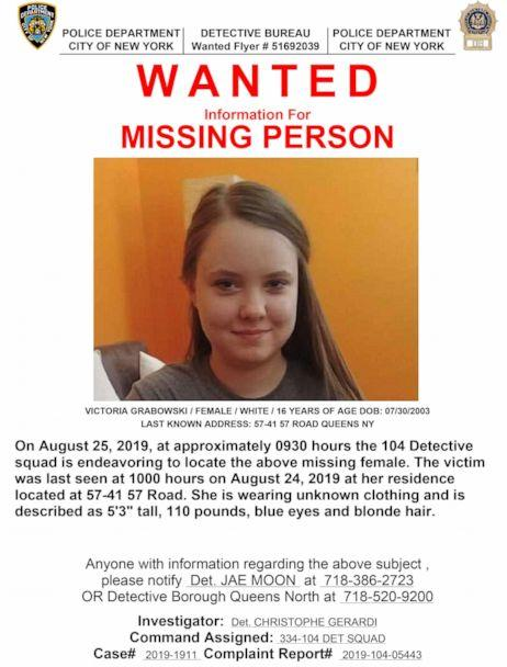 PHOTO:Victoria Grabowski is seen in this undated photo on a missing person poster released by the New York City Police Department. (New York City Police Department)