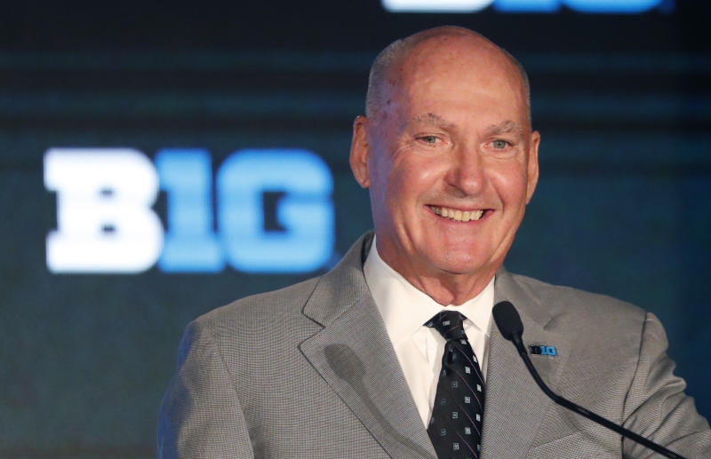 Big Ten Commissioner Jim Delany smiles during the Big Ten Conference NCAA college football media days Thursday, July 18, 2019, in Chicago. (AP Photo/Charles Rex Arbogast)