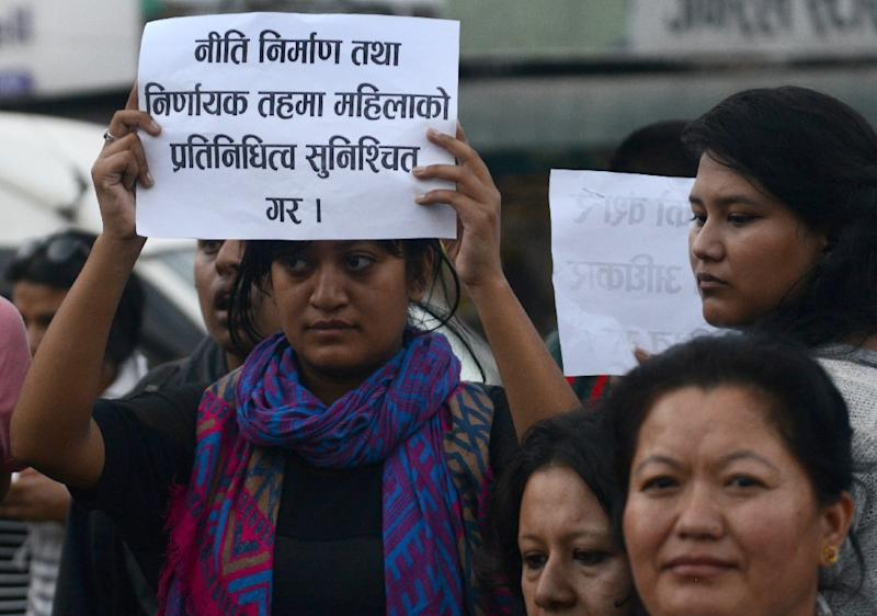 File picture shows Nepalese activists during a protest in Kathmandu demanding equal citizenship rights in the new constitution (AFP Photo/Prakash Mathema)