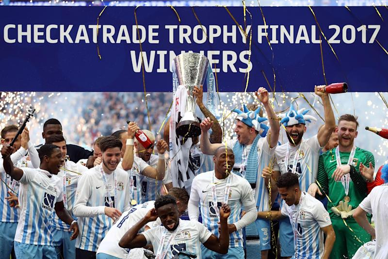Winners: Coventry City celebrate their Wembley triumph: Getty Images