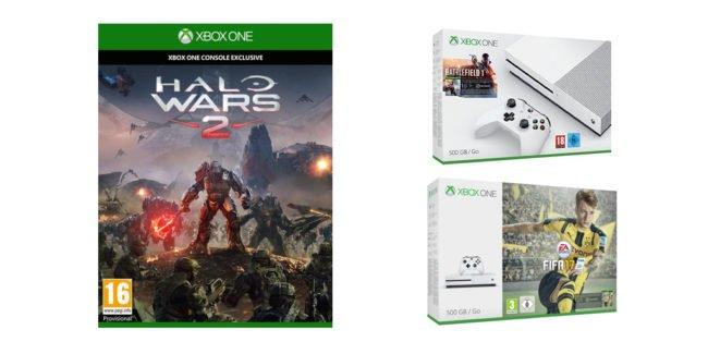 Xbox One S : des packs Halo Wars 2 + Battlefield 1 ou FIFA 17 à 290€