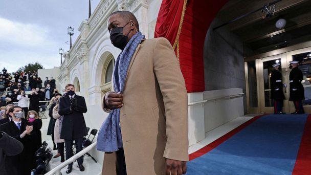PHOTO: Officer Eugene Goodman named acting deputy sergeant of arms of the Capitol Police arrives for the inauguration of Joe Biden as the 46th President of the United States on the West Front of the U.S. Capitol in Washington, Jan. 20, 2021. (Jonathan Ernst/Reuters)