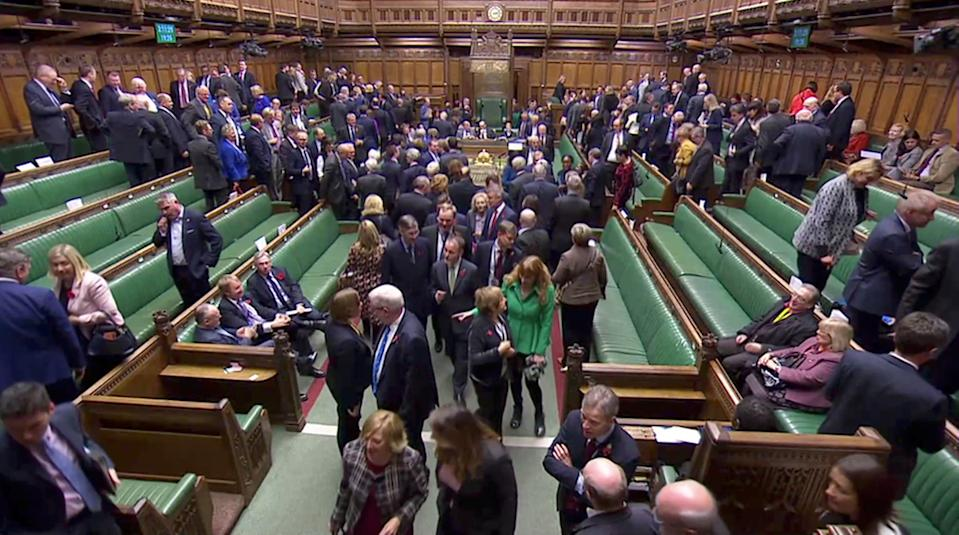 MPs leave the House of Commons to vote in the election of the new Speaker of the House, in London, Britain November 4, 2019, in this screen grab taken from video. Parliament TV via REUTERS. THIS IMAGE HAS BEEN SUPPLIED BY A THIRD PARTY.