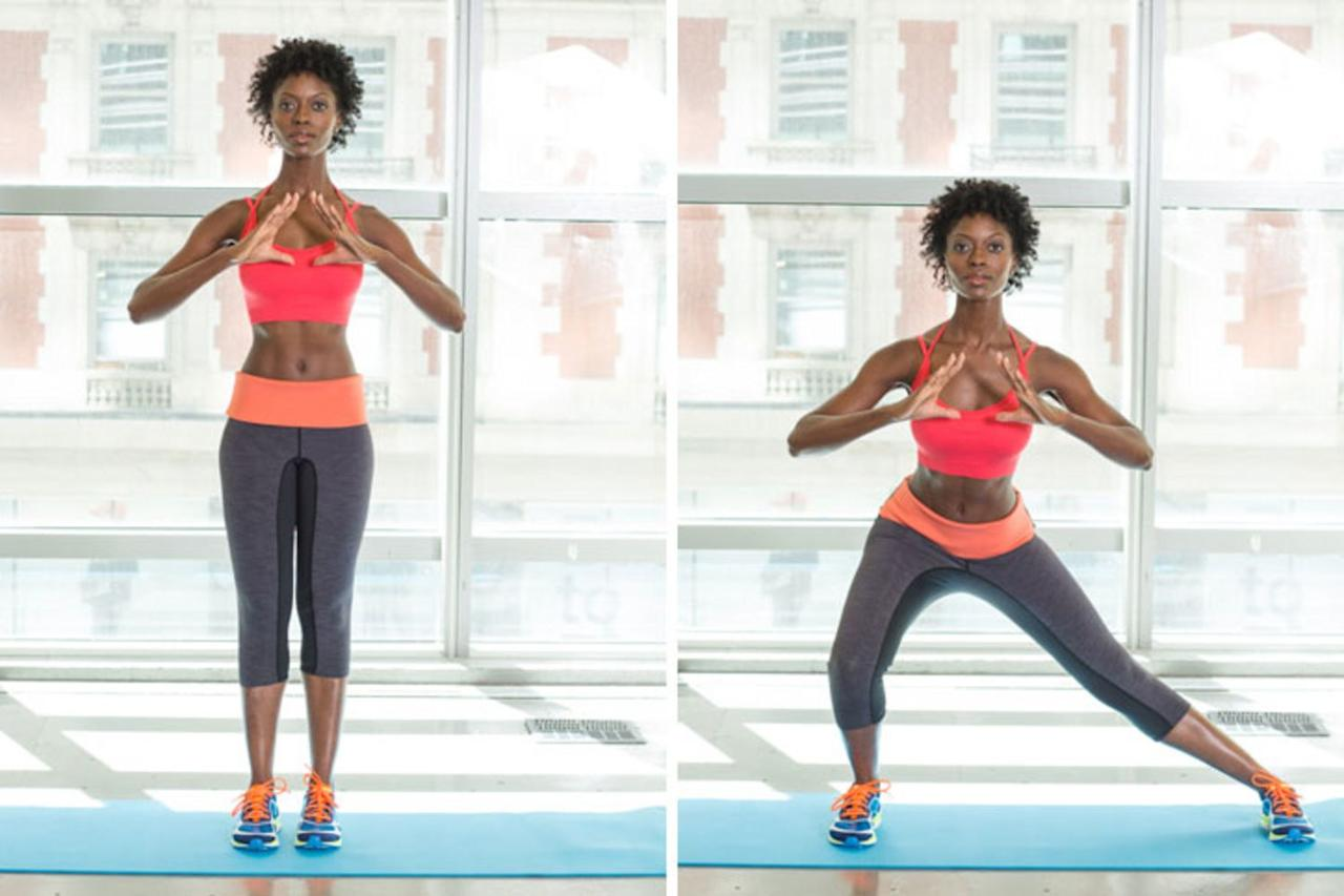 <p>Begin by standing with feet hip-width apart, elbows bent, hands at chest level. Then step your right foot several feet out to the side and bend your right knee 90 degrees, sinking butt back, as shown. Step back to start; switch sides. Continue, alternating legs with each rep, for 60 seconds.</p> <p>Any lunge will target your glutes, quads and hamstrings but side lungs have the added bonus of targeting your inner and outer thighs (aka your abductor and adductor muscles). </p>