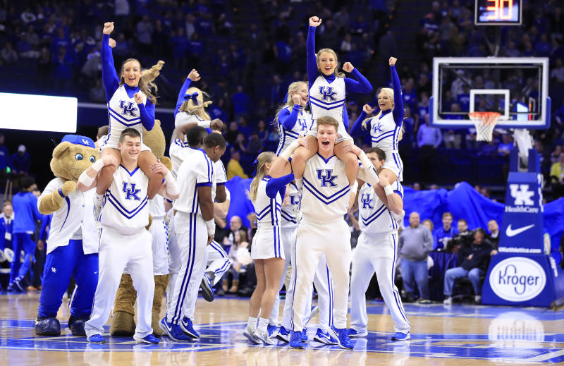 LEXINGTON, KENTUCKY - NOVEMBER 22: Kentucky Wildcats cheerleaders perform during the game against the Mount St Mary'S Moutaineers at Rupp Arena on November 22, 2019 in Lexington, Kentucky. (Photo by Andy Lyons/Getty Images)