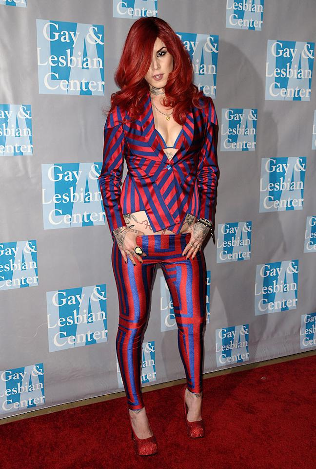 "Don't you think tattooist-to-the-stars Kat Von D's circus freak outfits would be better suited for the wrestling ring? Her continuous fashion flubs certainly aren't red carpet-ready. Jason LaVeris/<a href=""http://www.filmmagic.com/"" target=""new"">FilmMagic.com</a> - May 1, 2010"