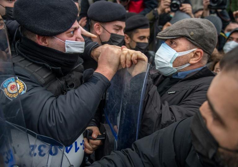 Turkish police face protestors on Tuesday