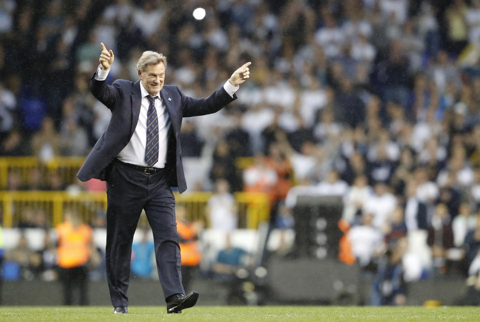 """FILE - In this Sunday, May 14, 2017 file photo, former Tottenham player and manager Glen Hoddle walks on the pitch during the last match to be played at the ground at White Hart Lane stadium in London. Former England manager and soccer great Glenn Hoddle fell """"seriously ill"""" on Saturday, Oct. 27, 2018 while preparing for a stint as a TV soccer pundit and was taken to the hospital. """"Our friend and colleague Glenn Hoddle was taken seriously ill at the BT Sport studio this morning,"""" presenter Jake Humphrey said. """"Every one of us is right with you Glenn, sending love and strength."""" (AP Photo/Frank Augstein, file)"""