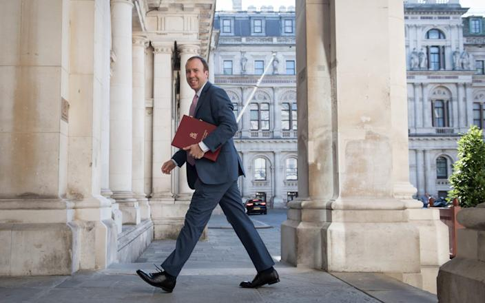 Health secretary, Matt Hancock arrives at the Foreign and Commonwealth Office (FCO) in London, ahead of a Cabinet meeting to be held at the FCO, for the first time since the lockdown. - Stefan Rousseau/PA Wire