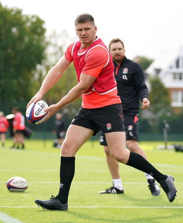 England captain Owen Farrell during a training session at The Lensbury