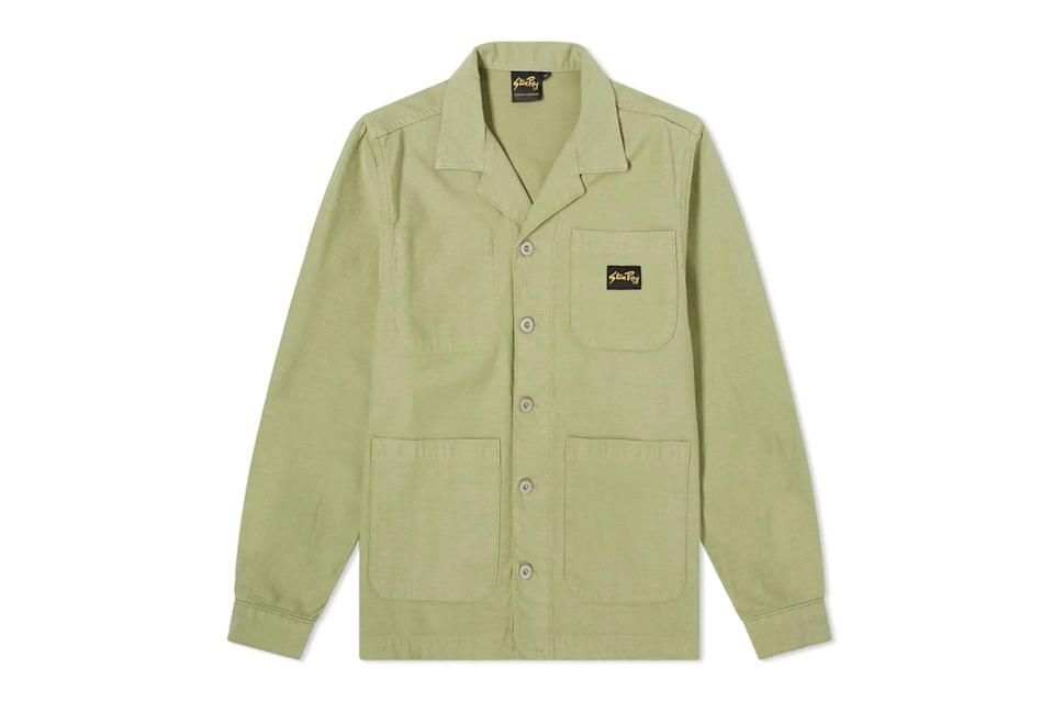"""<p>Your favorite <a href=""""https://www.gq.com/story/the-best-chore-coats-for-men?mbid=synd_yahoo_rss"""" rel=""""nofollow noopener"""" target=""""_blank"""" data-ylk=""""slk:chore coat"""" class=""""link rapid-noclick-resp"""">chore coat</a>, with a slightly more advanced camp collar and rugged hardware.</p> <p><em>Stan Ray painters jacket</em></p> $150, End Clothing. <a href=""""https://www.endclothing.com/us/stan-ray-painters-jacket-ss21000431.html"""" rel=""""nofollow noopener"""" target=""""_blank"""" data-ylk=""""slk:Get it now!"""" class=""""link rapid-noclick-resp"""">Get it now!</a>"""