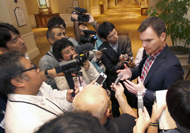 Boston Red Sox general manager Ben Cherington talks with the media at the annual baseball general managers meeting, Tuesday, Nov. 12, 2013, in Orlando, Fla. (AP Photo/Reinhold Matay)
