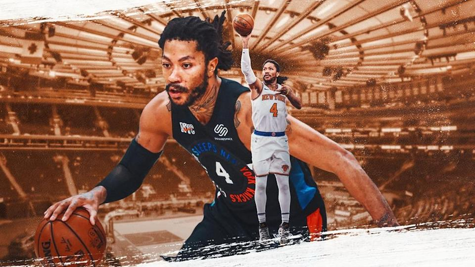 Knicks' Derrick Rose treated image with MSG background