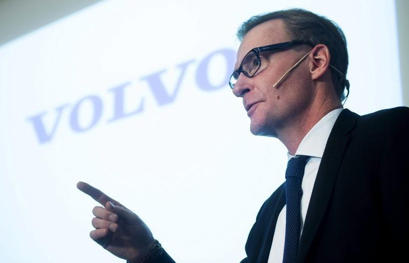 Volvo's CEO Olof Persson gestures during a news conference in Stockholm