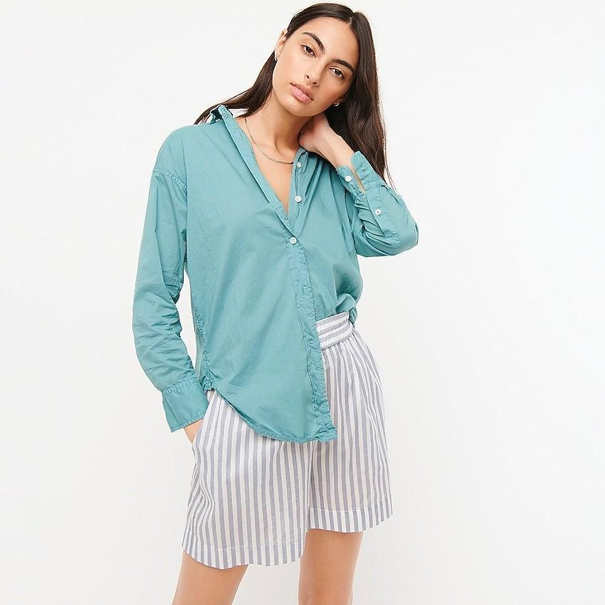 """<br><br><strong>J. Crew</strong> Relaxed-fit garment-dyed lightweight cotton poplin shir, $, available at <a href=""""https://go.skimresources.com/?id=30283X879131&url=https%3A%2F%2Fwww.jcrew.com%2Fp%2Fwomens%2Fcategories%2Fclothing%2Fshirts-and-tops%2Frelaxed-fit-garment-dyed-lightweight-cotton-poplin-shirt%2FAY728%3Fdisplay%3Dstandard%26fit%3DClassic%26color_name%3Dantique-mineral%26colorProductCode%3DAY728"""" rel=""""nofollow noopener"""" target=""""_blank"""" data-ylk=""""slk:J. Crew"""" class=""""link rapid-noclick-resp"""">J. Crew</a>"""
