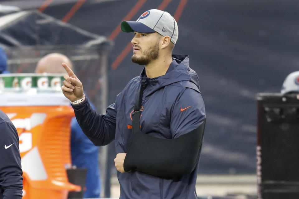 Chicago Bears quarterback Mitchell Trubisky is seen on the sidelines with his arm in a sling during the second half of an NFL football game against the Minnesota Vikings Sunday, Sept. 29, 2019, in Chicago. Trubisky was injured during the first quarter and left the game. (AP Photo/Charles Rex Arbogast)