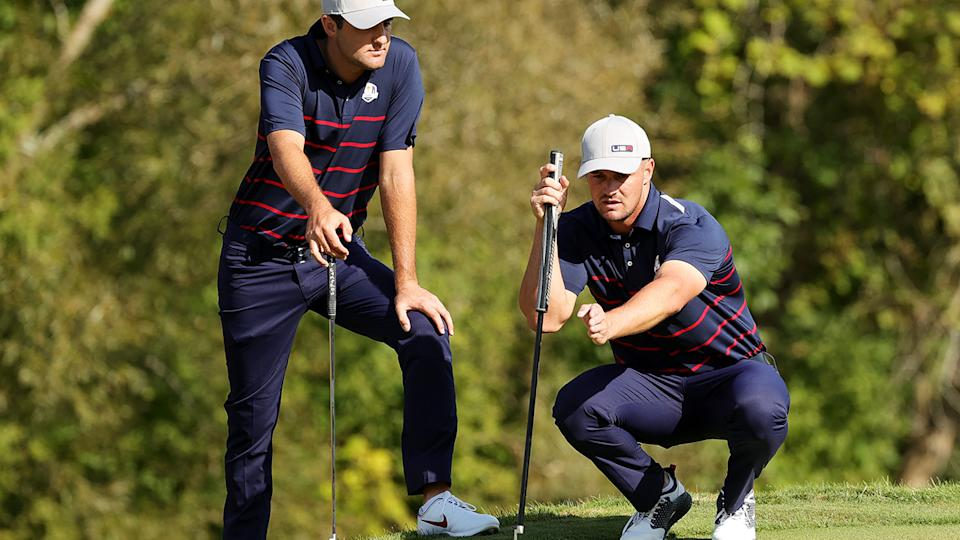 Scottie Scheffler and Bryson DeChambeau in action at the Ryder Cup. (Photo by Stacy Revere/Getty Images)