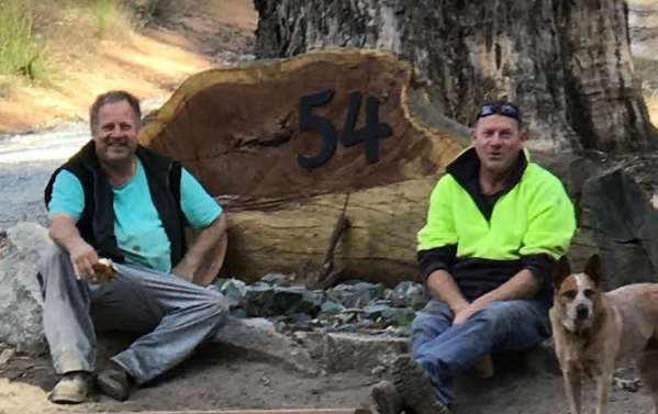 Mr Parker (right) on a rare break from working or fighting fires. Source: Karla Duroy/ Supplied