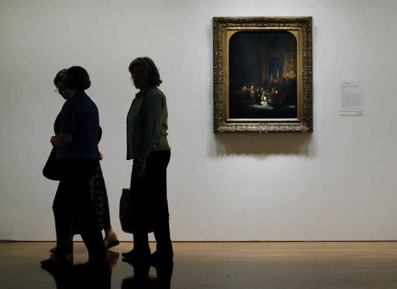 In this Monday, Aug. 1, 2011 photo, shown is Rembrandt van Rijn's painting Christ and the Woman Taken in Adultery at the Rembrandt and the Face of Jesus exhibit at the Philadelphia Museum of Art in Philadelphia.  The exhibit is scheduled to run from Aug. 3 through Oct. 30. (AP Photo/Matt Rourke)