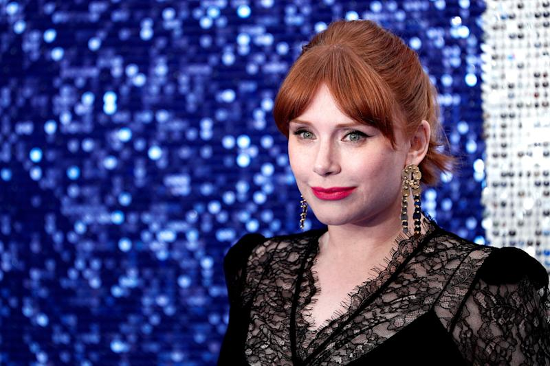 """Bryce Dallas Howard poses on the red carpet upon arriving for the UK premiere of the film """"Rocketman"""" in London on May 20, 2019."""