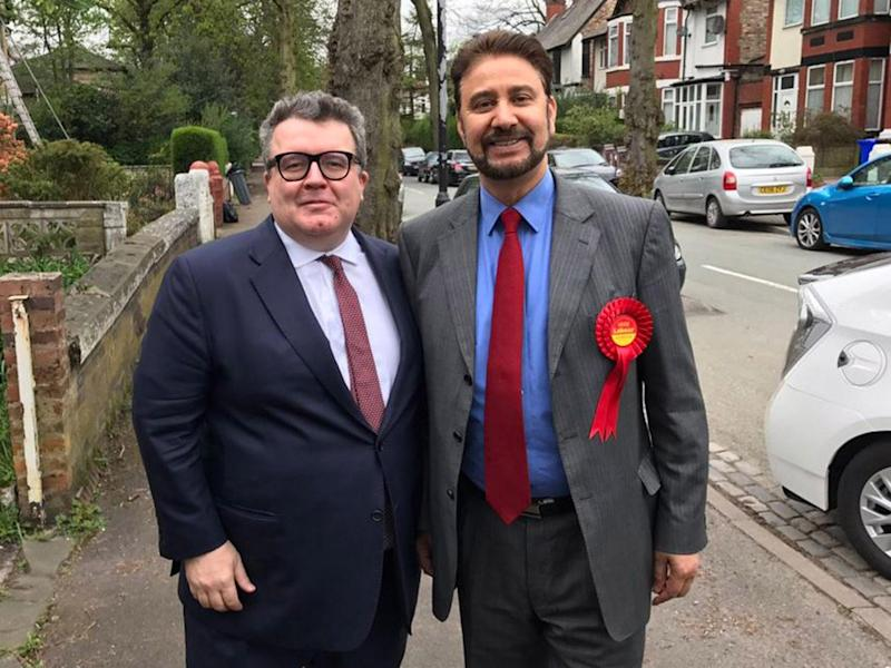Afzal Khan (right) pictured Labour deputy leader Tom Watson on the campaign trail in Manchester Gorton on Thursday as news of the controversy first emerged: Afzal Khan/Twitter
