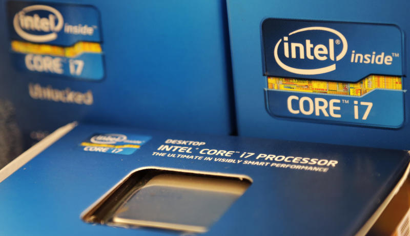 In this Thursday, July 12, 2012, photo, Intel Core i7 processors are stacked at a store in Cambridge, Mass. Intel, the world's largest chipmaker, said Tuesday, July 17, 2012, the weak global economy is slowing its growth as its earnings fell 4.3 per cent in the latest quarter as operating expenses rose faster than revenue. (AP Photo/Charles Krupa)