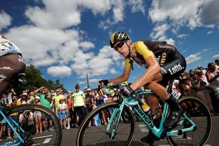 FILE PHOTO - Cycling - The 104th Tour de France cycling race - The 189.5-km Stage 15 from Laissac-Severac l'Eglise to Le Puy-en-Velay, France - July 16, 2017 - Lotto NL-Jumbo rider George Bennett of New Zealand in action. REUTERS/Benoit Tessier