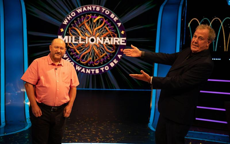 Jeremy Clarkson with new millionaire Donald Fear - ITV Picture Desk