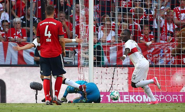 Soccer Football - Bundesliga - Bayern Munich v VfB Stuttgart - Allianz Arena, Munich, Germany - May 12, 2018 Stuttgart's Chadrac Akolo celebrates scoring their third goal REUTERS/Michael Dalder DFL RULES TO LIMIT THE ONLINE USAGE DURING MATCH TIME TO 15 PICTURES PER GAME. IMAGE SEQUENCES TO SIMULATE VIDEO IS NOT ALLOWED AT ANY TIME. FOR FURTHER QUERIES PLEASE CONTACT DFL DIRECTLY AT + 49 69 650050