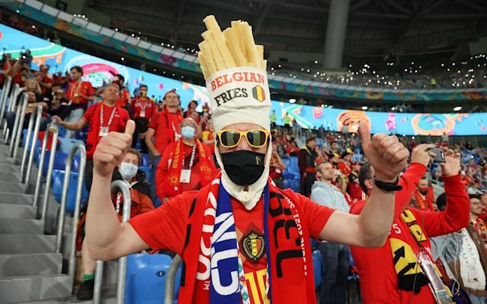 Belgium supporters inside the stadium during the UEFA Euro 2020 Championship Group B match between Belgium and Russia on June 12 - Victor Boyko - UEFA