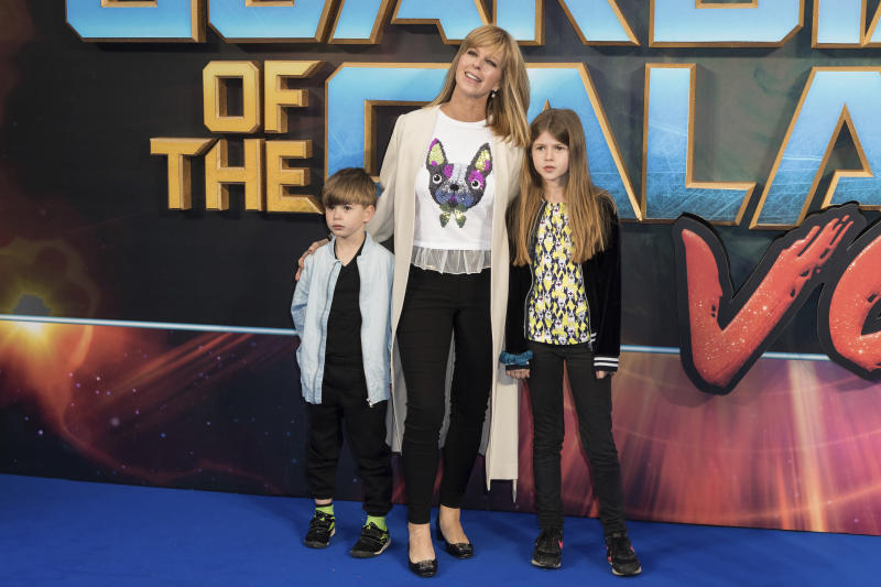 Kate Garraway and her children pose for photographers upon arrival at the premiere of the film 'Guardians of the Galaxy Vol. 2', in London, Monday, Apr. 24, 2017. (Photo by Vianney Le Caer/Invision/AP)