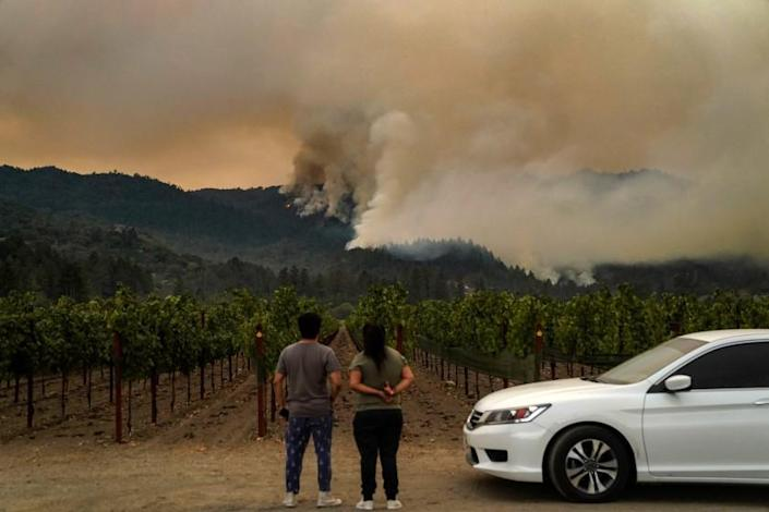 """ST. HELENA, CA - SEPTEMBER 28: The Glass Fire in Napa County burns on a mountainside with the Beckstoffer Vinyards in the foreground on Monday, Sept. 28, 2020 in St. Helena, CA. (Kent Nishimura / Los Angeles Times) <span class=""""copyright"""">(Kent Nishimura/Los Angeles Times)</span>"""