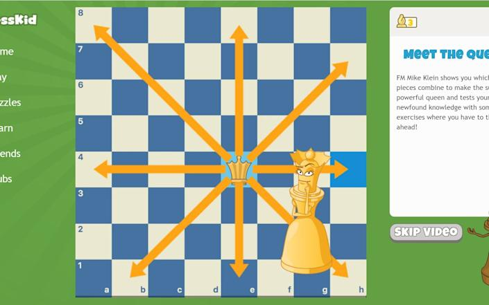 ChessKid breaks down different pieces and the moves children can make with them