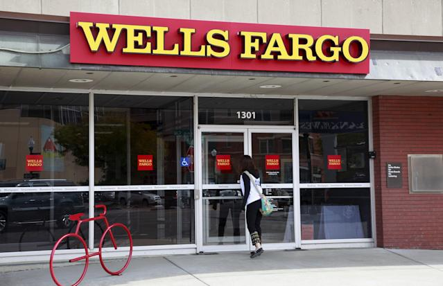 A customer goes into a Wells Fargo branch in 2015, during the height of desperate cross-selling at the bank. Source: Reuters