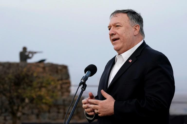 Mike Pompeo in a November 2020 stop in the Israeli-annexed Golan Heights, where he was the first US secretary of state to visit