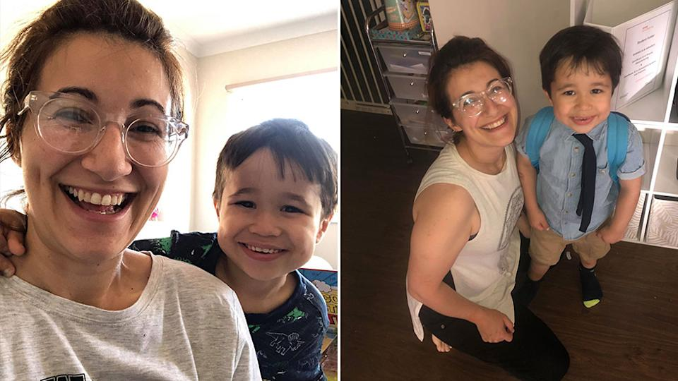Melbourne mum Jess Skogstad's four-year-old son locked her outside while she was getting her Woolworths groceries delivery.