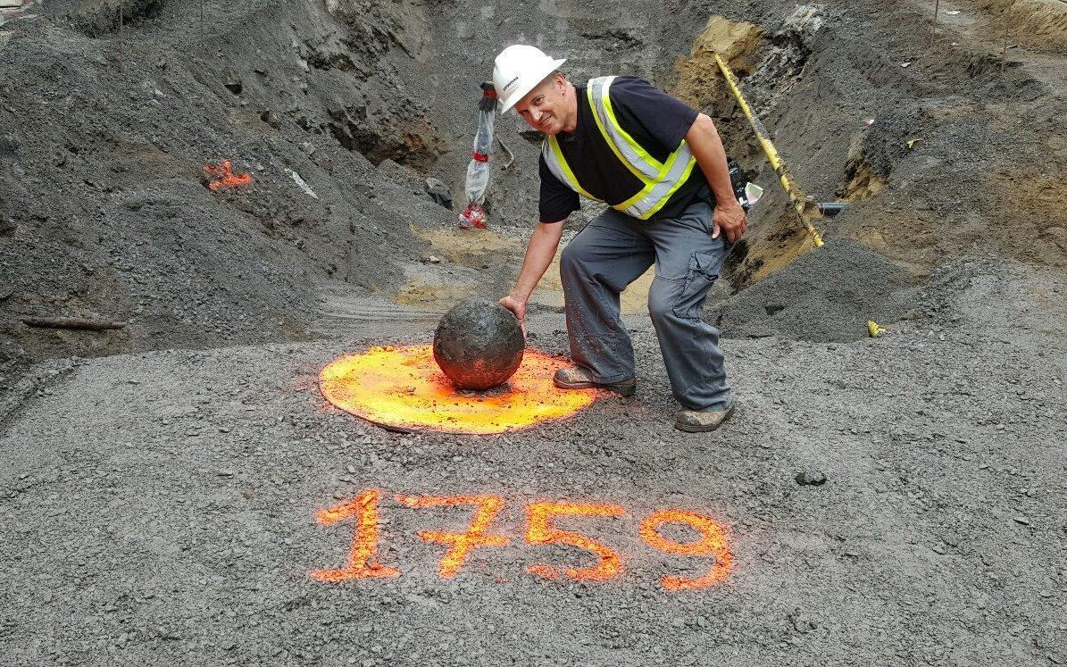 A cannonball fired by British forces in 1759 still contained a charge and explosives - Lafontaine/Facebook