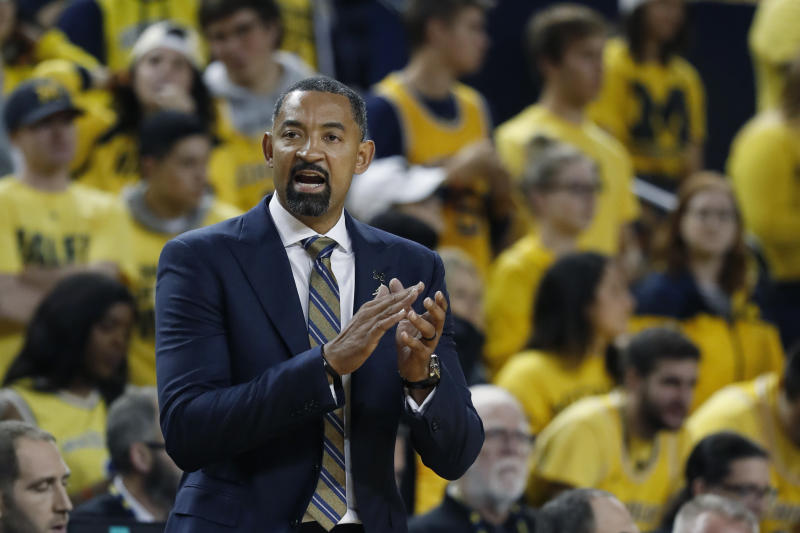 Michigan head coach Juwan Howard watches from the sidelines during the second half of an NCAA college basketball game against Appalachian State, Tuesday, Nov. 5, 2019, in Ann Arbor, Mich. (AP Photo/Carlos Osorio)