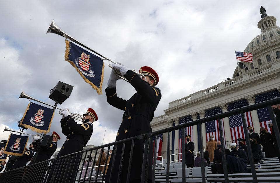 "The U.S. Army Band ""Pershing's Own"" plays during the inauguration of U.S. President-elect Joe Biden on the West Front of the U.S. Capitol on January 20, 2021 in Washington, DC. During today's inauguration ceremony Joe Biden becomes the 46th president of the United States. (Photo by Tasos Katopodis/Getty Images)"