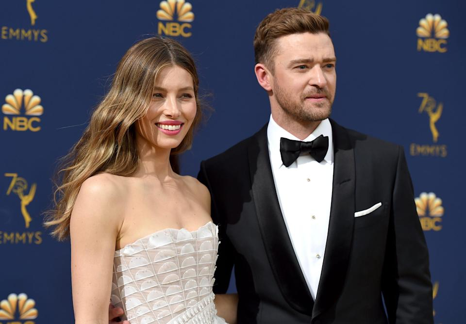 Happier times. Jessica Biel, left, and Justin Timberlake arrive at the 70th Primetime Emmy Awards on Sept. 17, 2018.