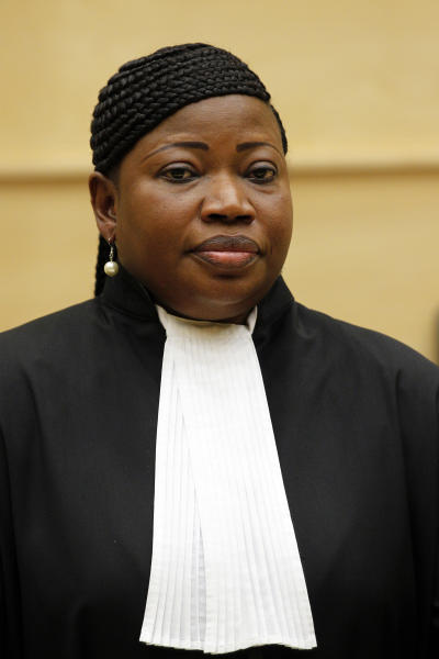 FILE - In this June 15, 2012 file photo, Fatou Bensouda makes her first speech as new prosecutor after a swearing-in ceremony at The International Criminal Court (ICC) in The Hague, Netherlands. Ten years ago the international treaty that created the ICC came into force, creating the world's first permanent war crimes tribunal. The head of a planned African Union force to hunt warlord Joseph Kony said on Wednesday, July 25, 2012, that he can't start his task because he doesn't have troops, equipment or the necessary funding. (AP Photo/Bas Czerwinski, Pool, File)