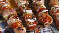 """<p>The beloved flavor trio hits the grill for summer.</p><p>Get the recipe from <a href=""""https://patty-delish.hearstapps.com/cooking/recipe-ideas/recipes/a47868/chicken-bacon-ranch-skewers-recipe/"""" rel=""""nofollow noopener"""" target=""""_blank"""" data-ylk=""""slk:Delish"""" class=""""link rapid-noclick-resp"""">Delish</a>.</p>"""