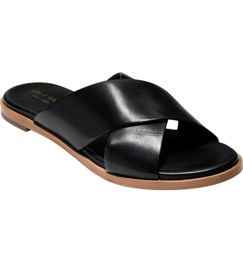 "Get them at <a href=""https://shop.nordstrom.com/s/cole-haan-anica-slide-sandal-women/4578604?origin=keywordsearch-personalizedsort&fashioncolor=BLACK%20LEATHER"" target=""_blank"">Nordstrom</a>, $130."