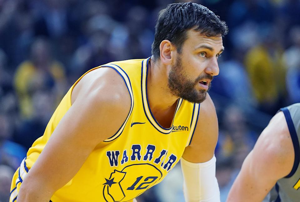 Andrew Bogut of the Golden State Warriors looks on against the Indiana Pacers during an NBA game on March 21, 2019.