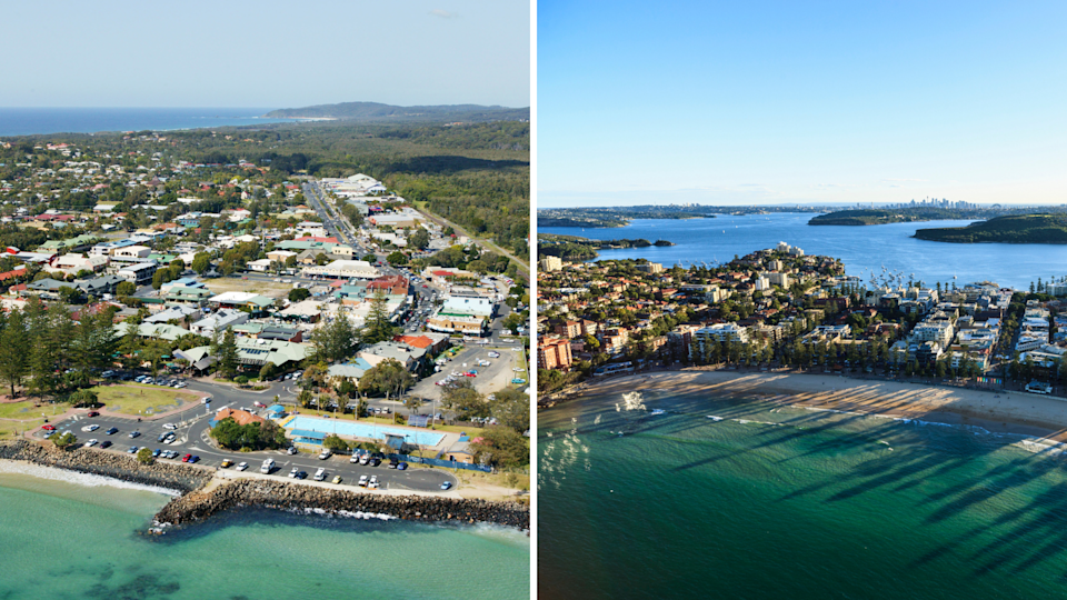 Aerial images of Byron Bay and Manly