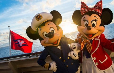 Mickey and minnie mouse characters on cruise ship