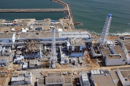 Aerial view shows TEPCO's tsunami-hit Fukushima nuclear power plant in late April