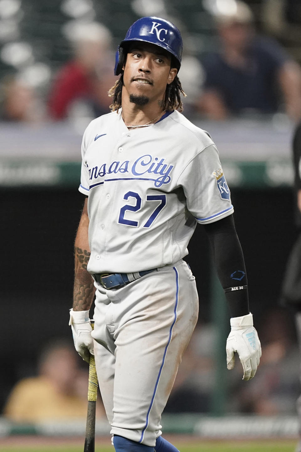Kansas City Royals' Adalberto Mondesi reacts after striking out in the ninth inning of a baseball game against the Cleveland Indians, Tuesday, Sept. 21, 2021, in Cleveland. The Indians won 4-1. (AP Photo/Tony Dejak)