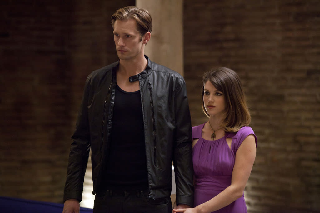 "Alexander Skarsgard and Lucy Griffiths in the ""True Blood"" episode, ""Everybody Wants to Rule the World."""