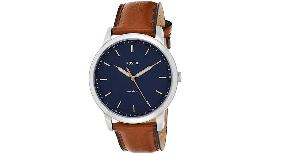 Fossil Men's Analog Quartz Watch with Leather Strap